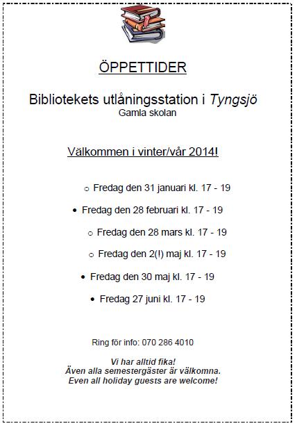 Tyngsjö biblioteks öppettider